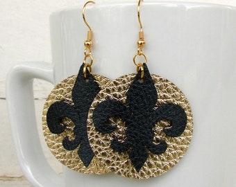 Leather Earrings - Fleur de Lis Earrings - Black and Gold Earrings - Saints Earrings - Boho Earrings - Boho Jewelry - Faux Leather Earrings