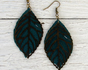 Layered Leather Earrings - Boho Faux Leather Earrings - Leaf Earrings - Leather and Metal -Antique Brass -  Boho Earrings - Boho Jewelry