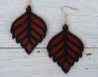 Layered Leather Earrings - Boho Faux Leather Earrings - Leaf Earrings - Copper and Brown Earrings - Boho Earrings - Boho Jewelry