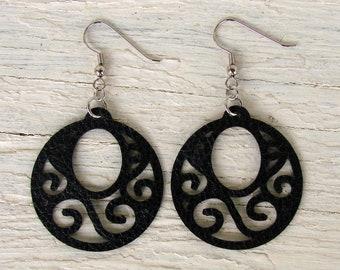 Leather Earrings - Boho Faux Leather Earrings - Circle Earrings - Black Earrings - Boho Earrings - Boho Jewelry - Bohemian Earrings