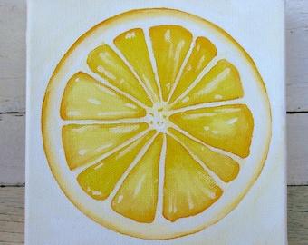 Lemon Painting - Slice of Lemon - Original Artwork - Small Acrylic Painting - Small Original Art - Boho Art - Kitchen Decor