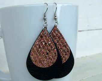 Leather Earrings - Leather Teardrop Earrings - Black and Rose Gold Earrings - Boho Earrings - Boho Jewelry - Layered Leather Earrings