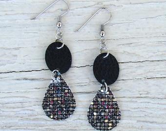 Leather Earrings - Shimmery Teardrop Earrings - Black and Silver Earrings - Boho Earrings - Boho Jewelry - Faux Leather Earrings