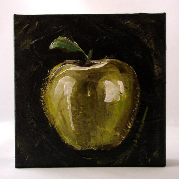 Green Apple Painting - Original Artwork - Small Acrylic Painting - Apple -  Small Original Art - Boho Art - Kitchen Decor - Teacher Gift