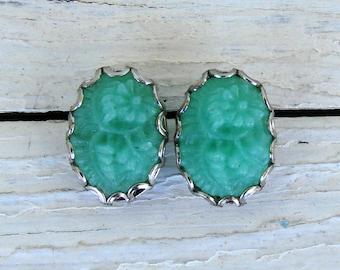Floral Cameo Earrings - Cameo Stud Earrings - Seafoam Green Earrings