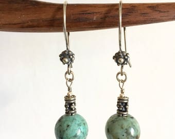 Earrings. African Turquoise. Sterling Silver earrings.