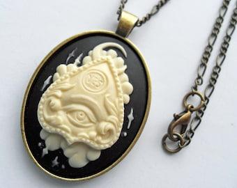 efa7858963c Ouija planchette cameo necklace, goth witchy jewelry, gothic jewellery