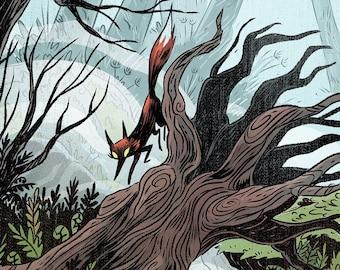 Ghost Fox Woods 8x12 inch gothic fantasy art print