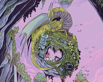 Floating Canyon Dragon 8x12 inch fantasy art print