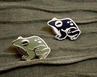 Toadally cute witch's familiar green and rose gold toad enamel pin