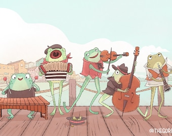 The Fabulous Froggy Band 8x12 art print