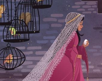 Fitcher's Bird 8x12 in fairytale art print