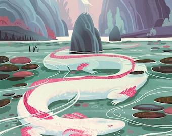 Serene Axolotl Dragon Lake 20x20 inch BIG fantasy art poster