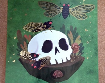 Cicada Skull square 8x8 art print with gold foil