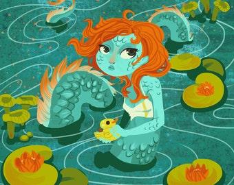 Loch Ness Monster Girl 8x8 art print