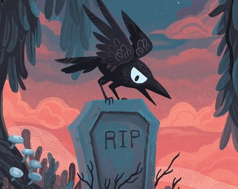 Tombstone Crow 12x18 inch gothic horror Halloween art poster
