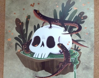 Salamander Skull square 8x8 art print with rose gold foil