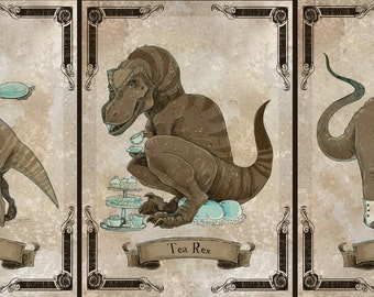 SteamPUNk Dinosaurs series 2 set of 3 prints