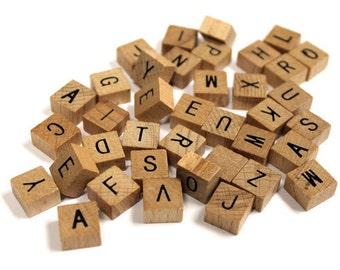 40 MINI Pc Wooden Alphabet Tile Set Common Alphabet Crafts Scrapbooking 1/2in