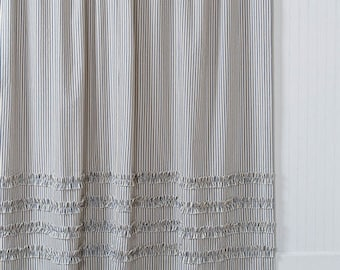 Ticking Stripe Ruffle Shower Curtain Navy Blue 72x72 Standard 72x84 72x96 Extra Long