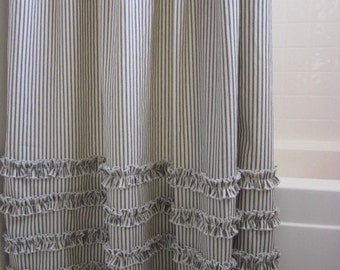 Delicieux Ruffled Ticking Stripe Shower Curtain Extra Long 72 X 96   Black, Brown,  Gray, Red, Navy