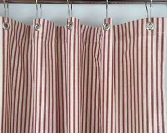 Red Ticking Stripe Shower Curtain 72x72 Or Extra Long 72x84 And 72x96
