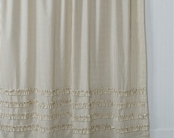 Ticking Stripe Ruffle Shower Curtain Brown 72x72 Or Extra Long 72x84 72x96