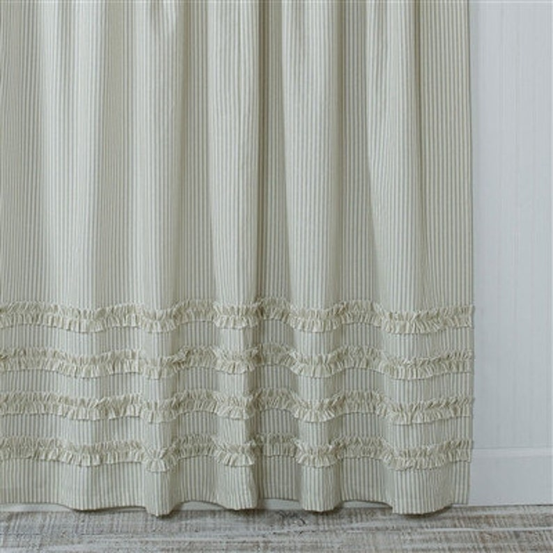 Ticking Stripe Ruffle Shower Curtain Gray