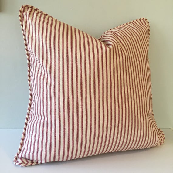 Ticking Stripe Throw Pillow Cover 18x18