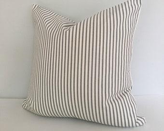 Gray Ticking Stripe Throw Pillow Cover 18x18 knife edge