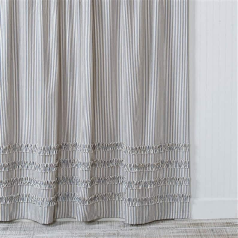 Ticking Stripe Ruffle Shower Curtain Navy Blue 72x72 Standard