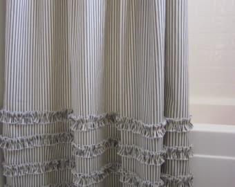 Ruffled Ticking Stripe Shower Curtain Extra Long 72 x 96 - black, brown, gray, red, navy