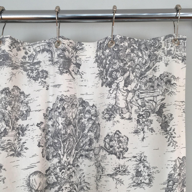 Grey Toile Farmhouse Fabric Shower Curtain 72 X 72 In Stock