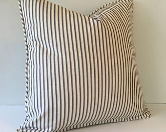 Black Ticking Stripe Throw Pillow Cover 18x18