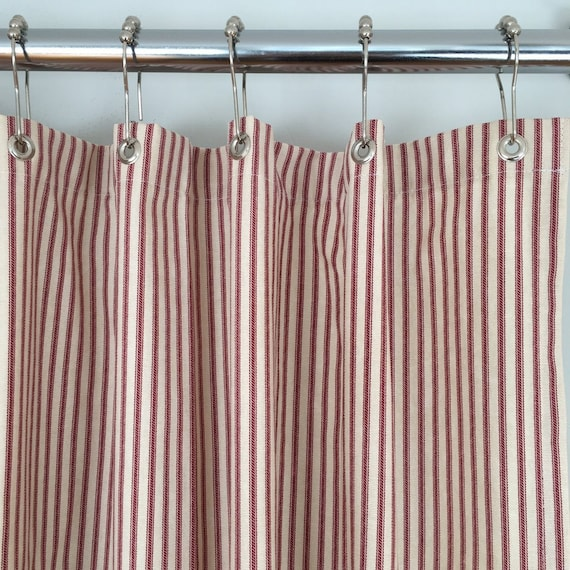Red Ticking Stripe Shower Curtain 72x72 Or Extra Long 72x84