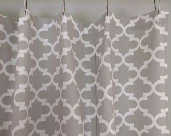Gray Fabric Shower Curtain Trellis