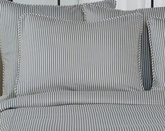 Ticking Stripe Pillow Shams |  Euro, Standard, King, Black, Navy, Grey