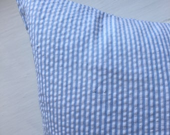 Light Blue and White Stripe Throw Pillow Cover 18x18 Great Monogram Blanks