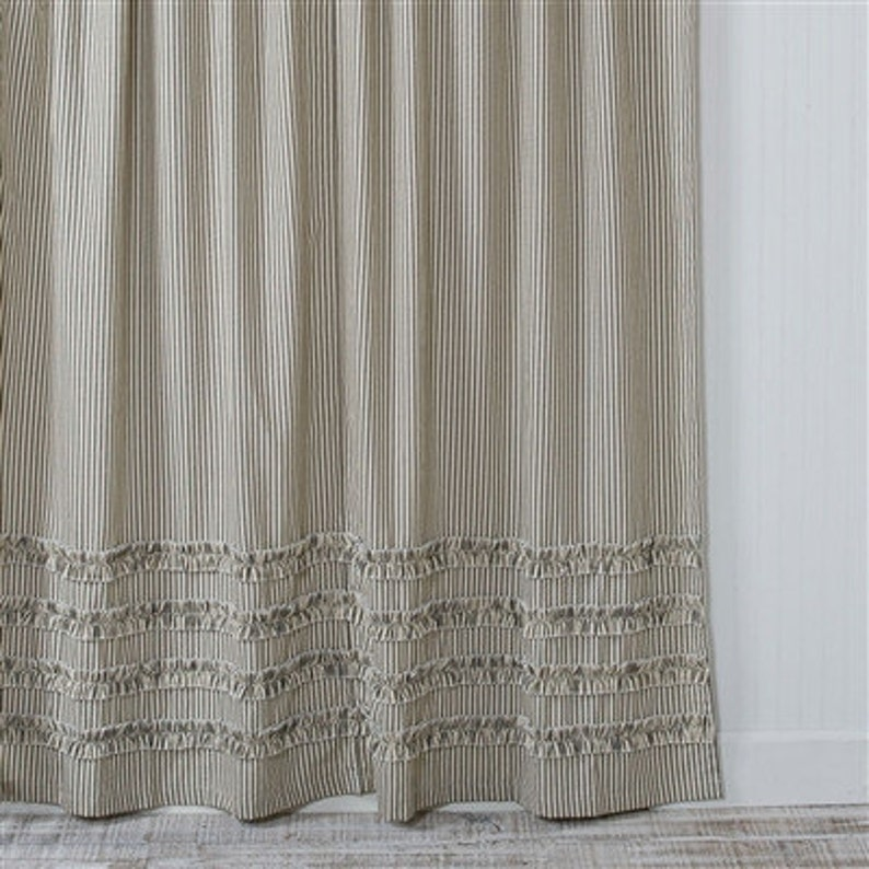 Ticking Stripe Ruffle Shower Curtain Black 72x72 Or 72x84 72x96 Extra Long Ex