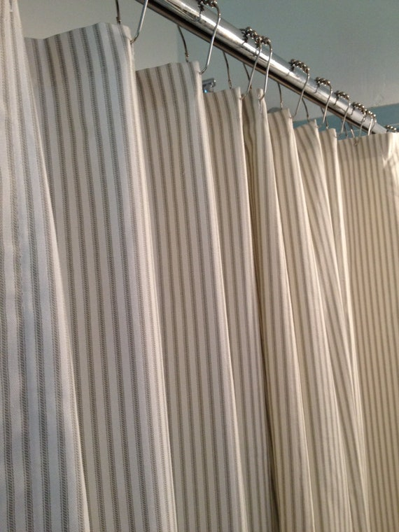 Gray Ticking Stripe Fabric Shower Curtain 72x84 Reserved