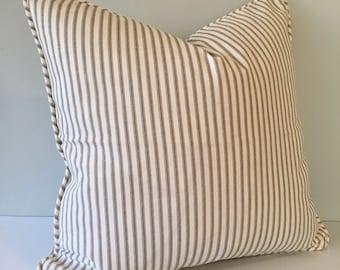 Brown Ticking Stripe Throw Pillow Cover 18x18
