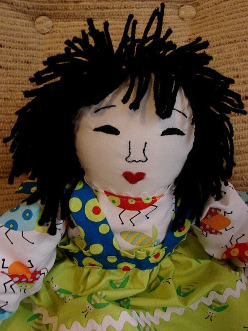 Rag Doll-Little Asian Rag Doll Made from Quilt Fabrics image 0