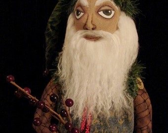Primitive Folk Art-Woodsman Santa Claus-Art Doll-Ooak (Made to Order By Request)