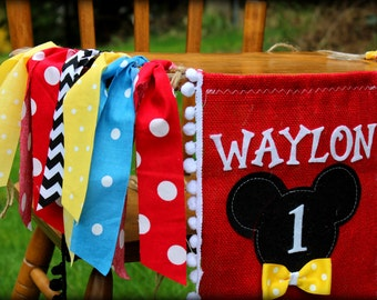 Mickey Mouse Birthday Banner Photo Prop Backdrop Garland Highchair Childrens Name I Am One High Chair First