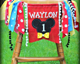 Mickey Mouse Birthday Party Highchair Banner High Chair Garland Photo Prop Backdrop Personalized Clubhouse