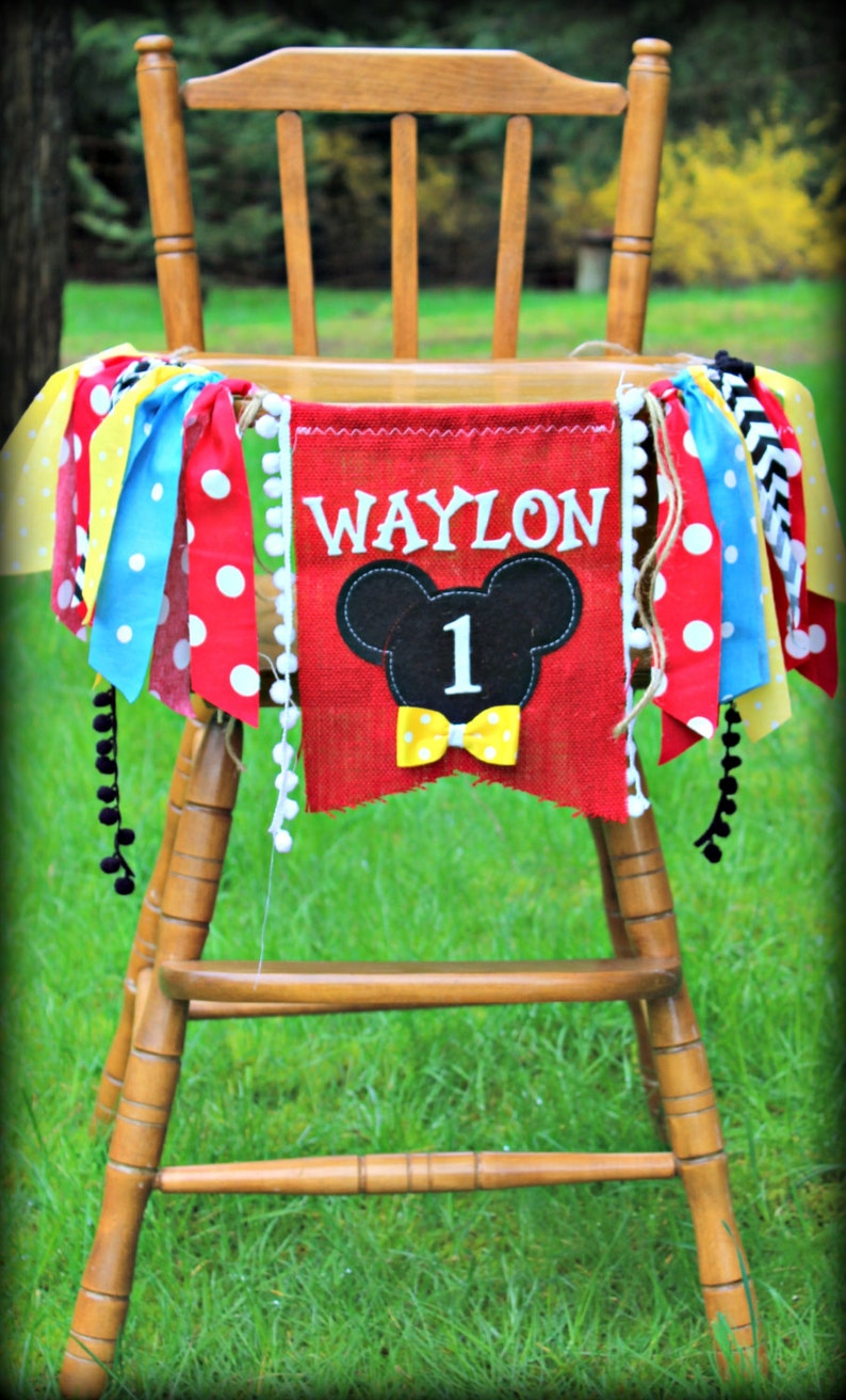 Vintage Mickey Personalized Birthday Banner High Chair Backdrop Photo Prop Mickey Mouse Birthday  Banner 1st Birthday decor
