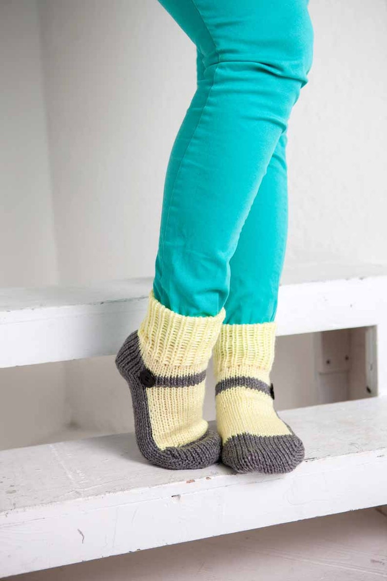 Knit Slipper Socks Adult Mary Jane Slippers Sox Pale Yellow image 0