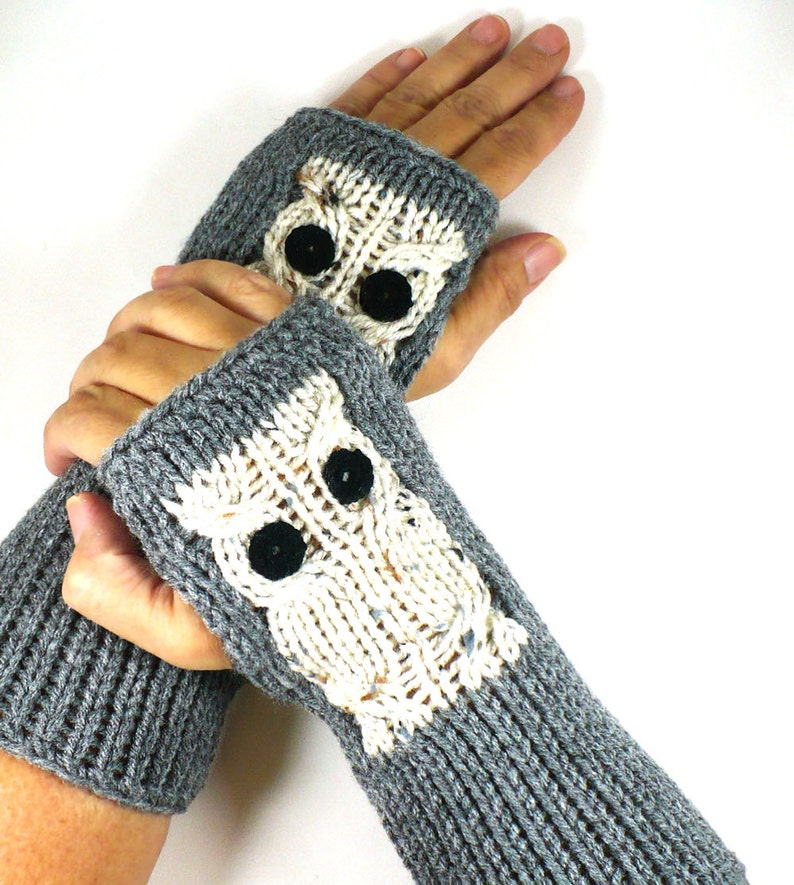 Knit Hand Warmers Owl Gloves Knit Accessories Fingerless image 0