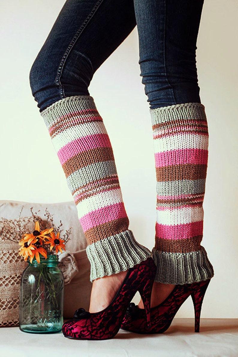 Knit Leg Warmers Knit Boot Socks Adult Legwarmers Womens Striped Leg Warmers Knee High Leg Warmers Rasberry Pink Brown White Sage Green