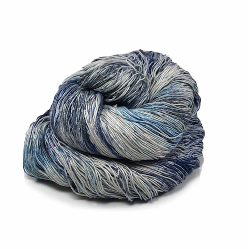 300 Yards Hand Dyed Cotton Crochet Thread Size 10 3 Ply Blue image 0